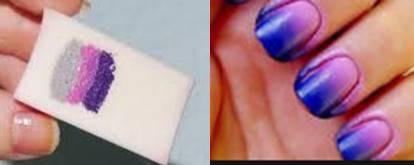 sponge nail art, ombre nail art, nail art